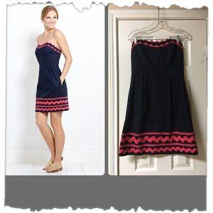 Vineyard Vines Navy Blue & Pink Strapless Dress