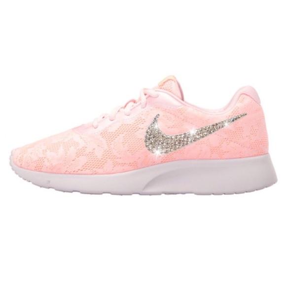 Bling Nike Tanjun Shoes in Pink Lace w/ Swarovski