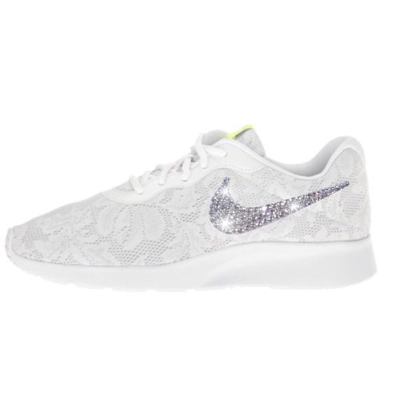 4c04ef4f3 Bling Nike Tanjun White Lace Shoes w  Swarovski