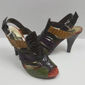 🌺 Dollhouse Animal Print Color Block Heels