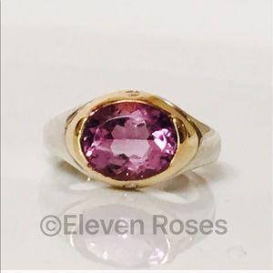 Movado Jewelry - Movado Sterling & 18k Hold Amethyst & Diamond Ring