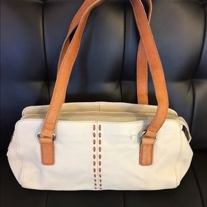 Handbags - Lovely white purse with brown handles