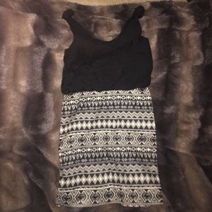 Black tribal print dress