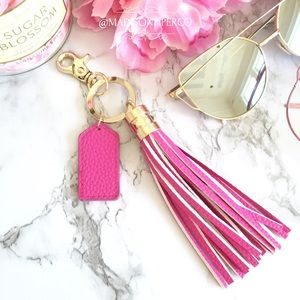 Accessories - Hot Pink Leather Tassel Keychain/ Purse Charm