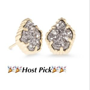 NWT Kendra Scott Tessa Earrings in Platinum Drusy