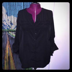 Lane Bryant black button up blouse