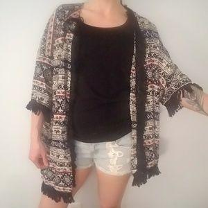 Rhapsody   Sweaters - SUPER CUTE! Tribal print Kimono with tassels.