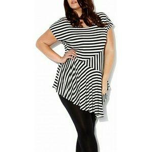 Pink Clove Tops - Black white striped asymmetrical hem top 3X sz 24