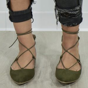 Military Green Lace Up Ballet Flats