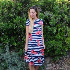 striped floral midi dress