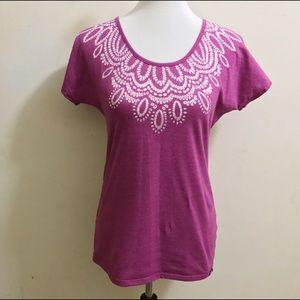 Prana Tops - Prana Magenta T-Shirt With Unique Bust Design