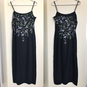 90s vtg embroidered floral slip dress 10