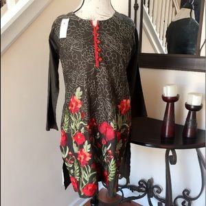 Tops - Black Embroidered Cotton Tunic Top Blouse