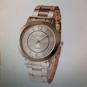 Rose gold watch water proof and stainless steel