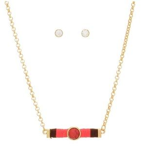 ⚾️Gold Tone Red/Coral Bar Necklace Set