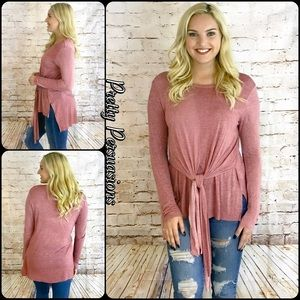 Pretty Persuasions Tops - NWT Mauve Tie Front Relaxed Long Sleeve Tunic Top