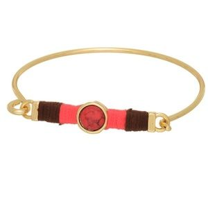 Gold Tone Stone Latch Bangle-Red
