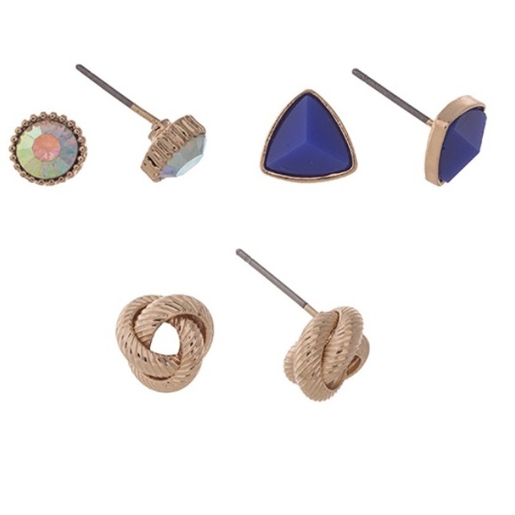 Jewelry - 🔷👂🏼Stud/Triangle/Knot Earring Trio-Blue & Gold