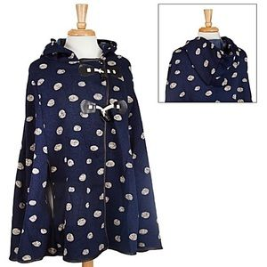 ☔️Navy Hooded w/White Polka Dots Cape/Poncho