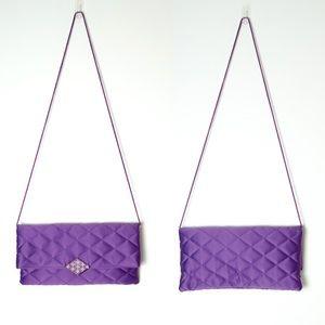 Kate Landry Handbags - Kate Landry Purple Quilted Fold Crossbody Clutch