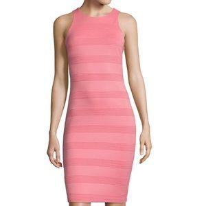 Bisou Bisou Dresses & Skirts - Coral Gold Halter Neck Textured Bodycon Dress