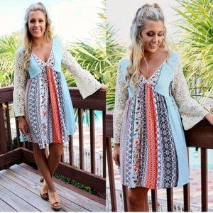 🌺S-XXXL🌺 Coral Mustard Patchwork Lace Boho Dress