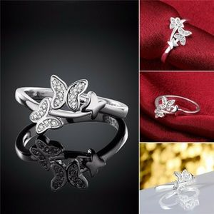 Jewelry - 925 Sterling Silver Crystal Butterfly Ring