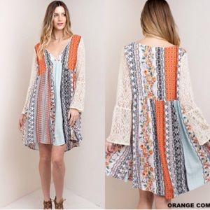 Molly Dolly Dresses & Skirts - 🌺S-XXXL🌺 Patchwork Printed Lace Sleeves Dress