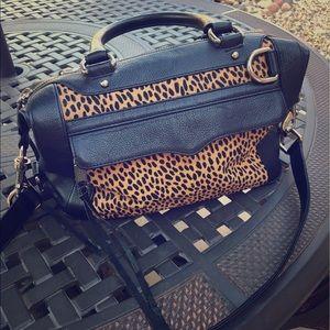 Rebecca Minkoff Black & Cheetah MAB Large Satchel