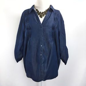 Gloria Vanderbilt Tops - Shimmery denim chambray blue button down shirt