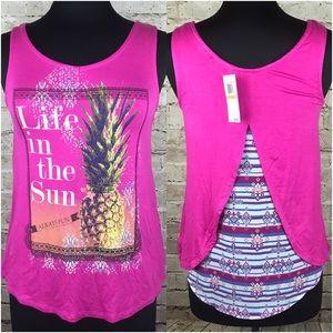 "Belle Du Jour Tops - Belle Du Jour Graphic Top ""Pineapple"" Magenta Pink"