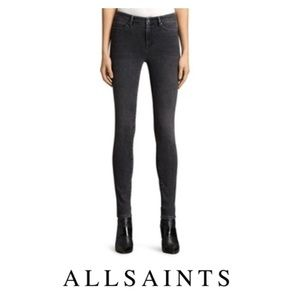 All Saints Skinny Roseport Ashby Faded Black Jeans