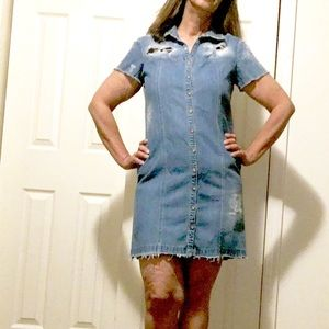 Style & Co Dresses & Skirts - Destroyed Short Sleeve Button Front Denim Dress