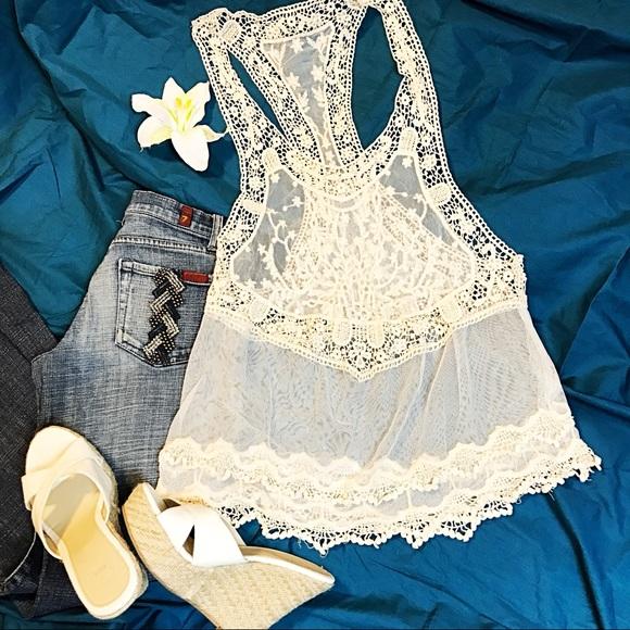 d2231d11259 Beige Boho Crochet Lace Top Hippie Gypsy SwimCover