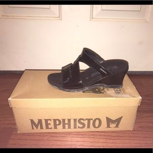 Mephisto Shoes - Mephisto Cathy black patent wedge sandals slide 6