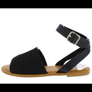 Shoes - Black Open Toe   Ankle Strap   Flat Sandal