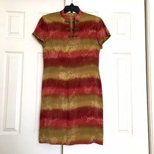 David Warren Dresses & Skirts - David Warren Oriental Silk Dress Short Sleeve
