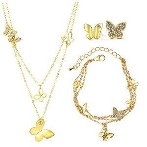Jewelry - 🆕 Swarovski Crystals Layered Butterfly Set DF101