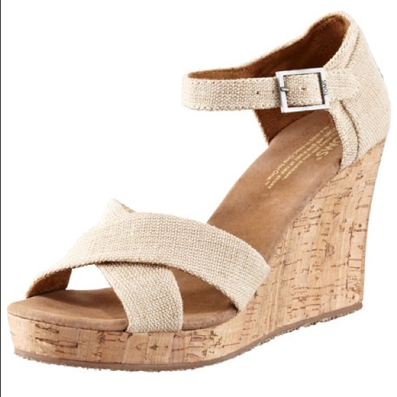 51 toms shoes toms fabric cork wedge sandal neutral