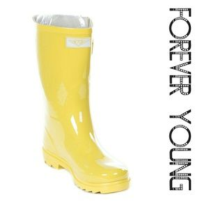 Women Mid Calf Rain Boots,  #1602, Yellow