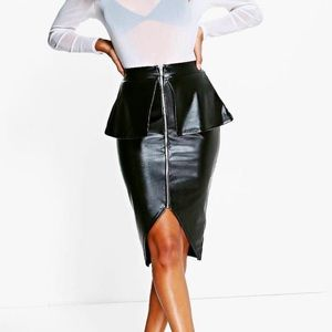 Leather Look Peplum Midi Skirt
