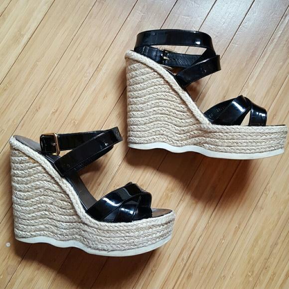 8a2d1509f Yves Saint Laurent Shoes | Ysl Black Patent Malo Espadrille Wedges ...