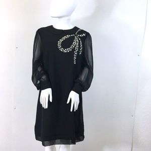 South Dresses & Skirts - South UK brand Beaded Bow Collar Black Tunic Dress