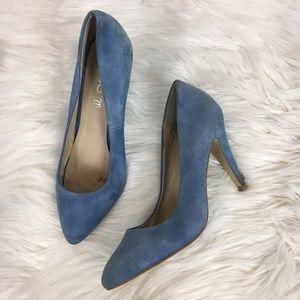 Aldo women's blue suede point toe heels pumps