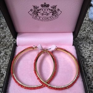 Beaded Coral juicy couture hoop