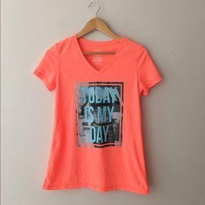 Danskin Tops - Danskin Neon Orange 'Today Is My Day'  Graphic Tee