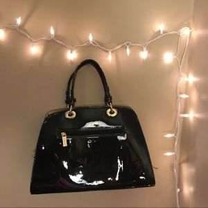 Vegan black and gold handbag purse