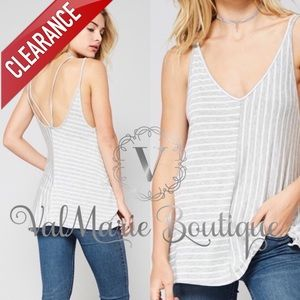 CLEARANCE Grey ivory striped top