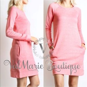 Sweatshirt Dress with Pockets - Coral