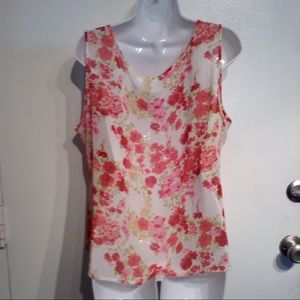 Emma James Tops - 🍂5for$25🍂PLUS Size Semi Sheer Floral Tank Top